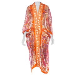 Morphew Collection 1970's Christian Dior Paisley Silk Chiffon Cocoon Jacket