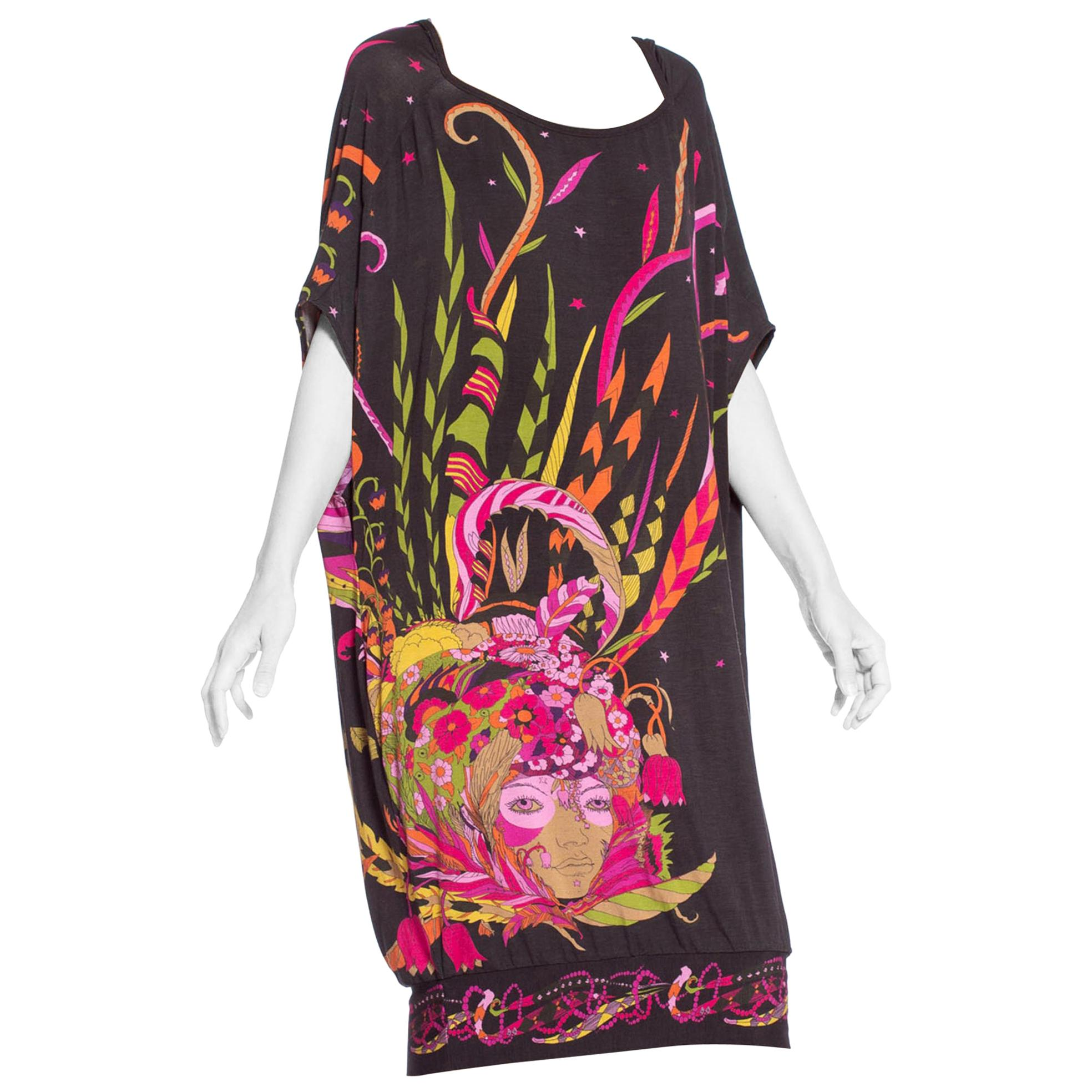 MORPHEW COLLECTION 1970'S Psychedelic Fortune Teller Print Dress