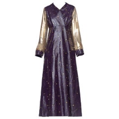 Morphew Collection 1970's Purple Vinyl Crystal Studded Coat With Gold Metal Mesh