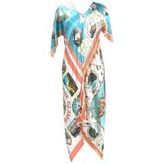 Morphew Collection Aqua  & Peach Mediterranean Print Bias Cut Kaftan Dress Made