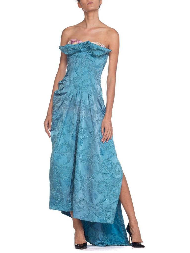 MORPHEW COLLECTION Aquamarine Blue Rayon & Silk Damask Strapless Asymmetrical G For Sale 6