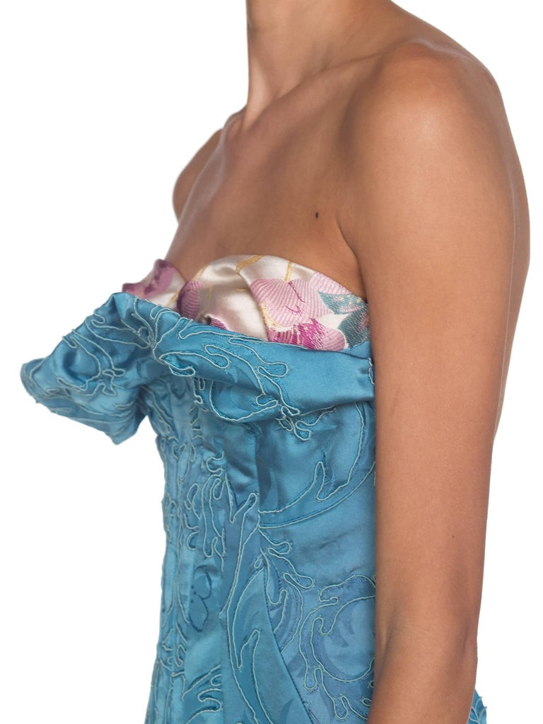 MORPHEW COLLECTION Aquamarine Blue Rayon & Silk Damask Strapless Asymmetrical G For Sale 9
