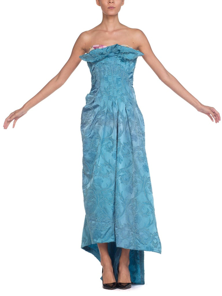 MORPHEW COLLECTION Aquamarine Blue Rayon & Silk Damask Strapless Asymmetrical G In Excellent Condition For Sale In New York, NY