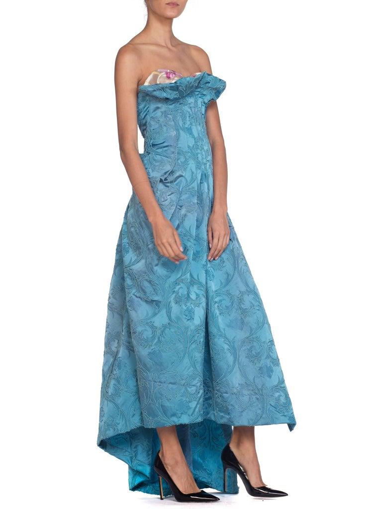 Women's MORPHEW COLLECTION Aquamarine Blue Rayon & Silk Damask Strapless Asymmetrical G For Sale