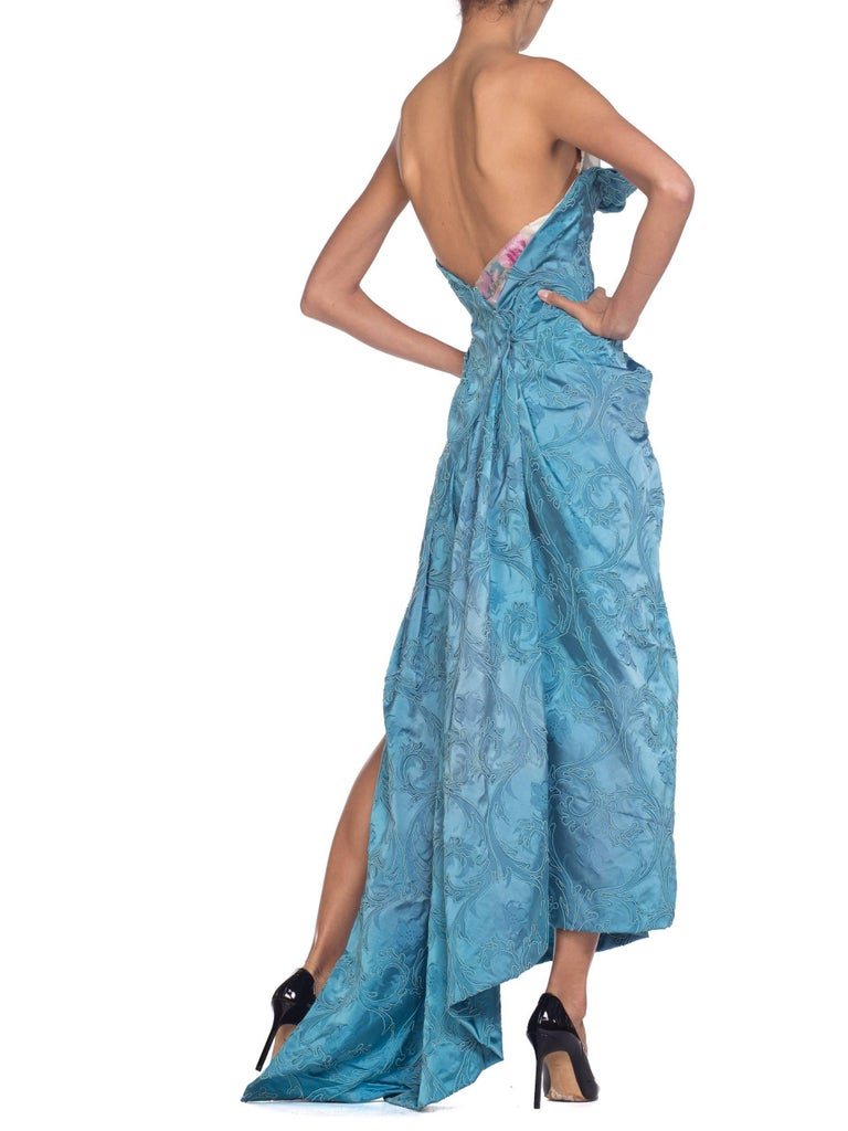 MORPHEW COLLECTION Aquamarine Blue Rayon & Silk Damask Strapless Asymmetrical G For Sale 1