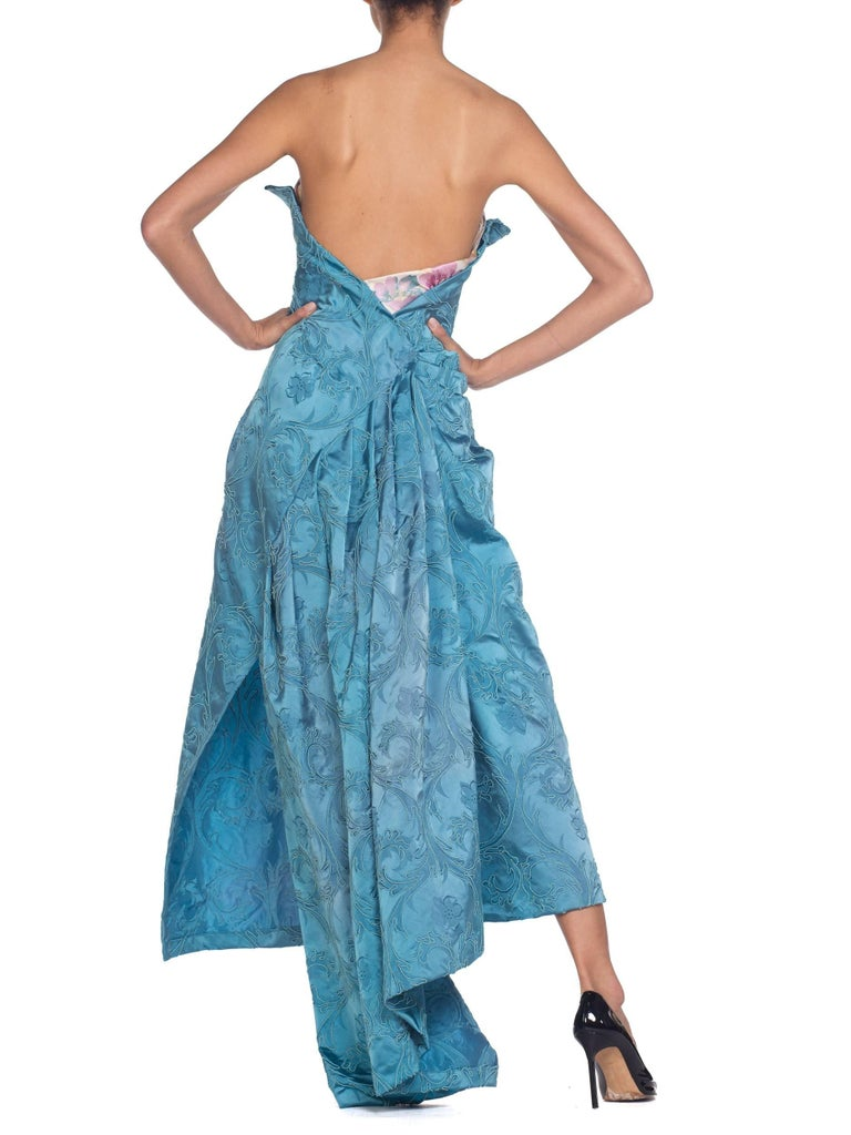 MORPHEW COLLECTION Aquamarine Blue Rayon & Silk Damask Strapless Asymmetrical G For Sale 2