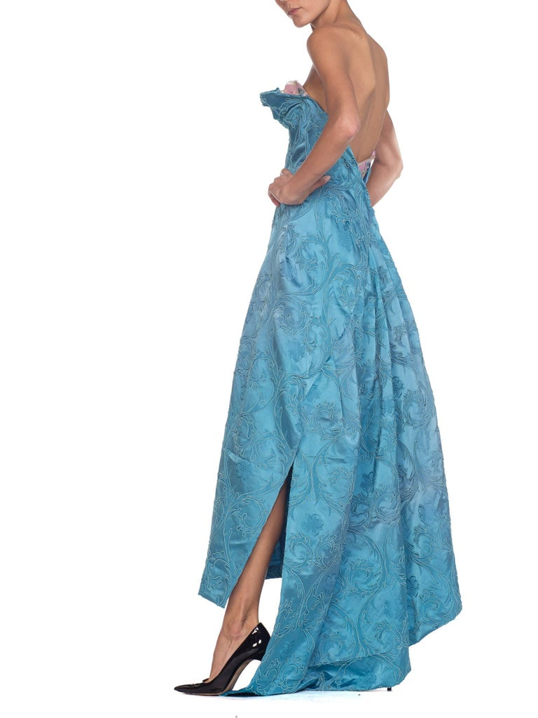 MORPHEW COLLECTION Aquamarine Blue Rayon & Silk Damask Strapless Asymmetrical G For Sale 3