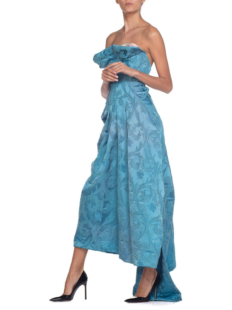 MORPHEW COLLECTION Aquamarine Blue Rayon & Silk Damask Strapless Asymmetrical G For Sale 4
