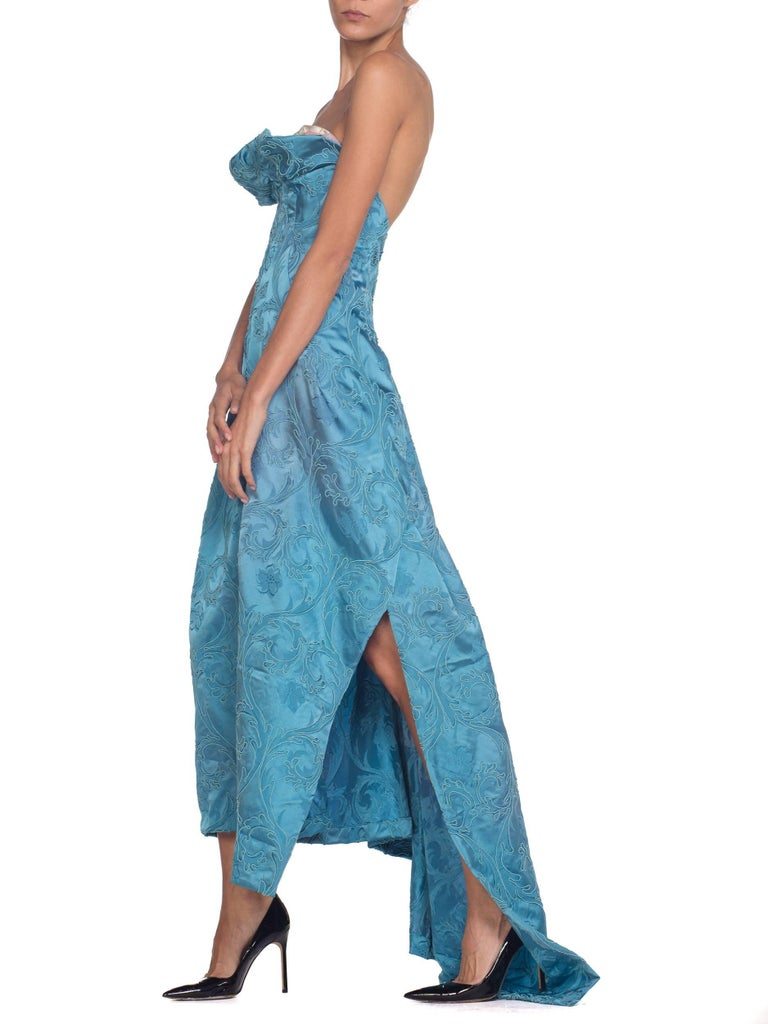 MORPHEW COLLECTION Aquamarine Blue Rayon & Silk Damask Strapless Asymmetrical G For Sale 5