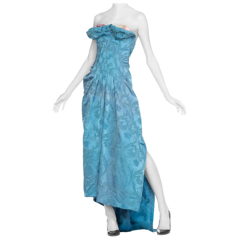 MORPHEW COLLECTION Aquamarine Blue Rayon & Silk Damask Strapless Asymmetrical G For Sale