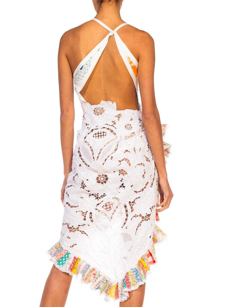 Beige MORPHEW COLLECTION Backless Antique Lace & Quilt Patchwork Cocktail Dress For Sale
