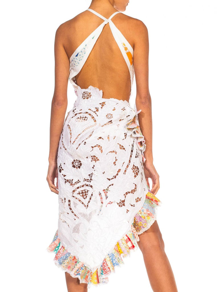 MORPHEW COLLECTION Backless Antique Lace & Quilt Patchwork Cocktail Dress For Sale 2