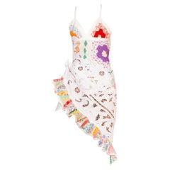 MORPHEW COLLECTION Backless Antique Lace & Quilt Patchwork Cocktail Dress