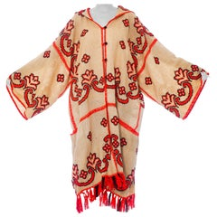 Morphew Collection Beige Cotton & Neon Coral Hand Embroidered Oversized Duster W