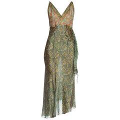 Morphew Collection Bias Backless Indian Print Dress With Edwardian Metallic
