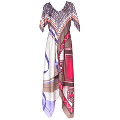 MORPHEW COLLECTION Bias Cut Silk Twill Kaftan Recycled 1970S Scarf Dress