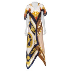 Morphew Collection Bias Cut Status Print Dress Made From 1960's Silk Scarves