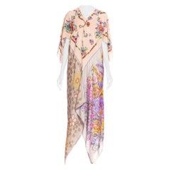 MORPHEW COLLECTION Floral Butterfly Printed Silk Bias Cut Kaftan Scarf Dress