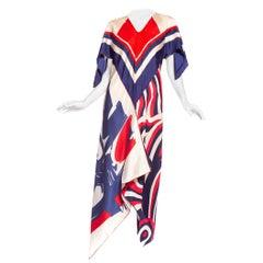 Morphew Collection Bias Cut Vintage Red White Blue Stripe Scarf Kaftan Dress