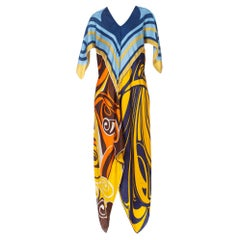 Morphew Collection Bias Cut Vintage Silk Scarf Dress In Blue & Gold
