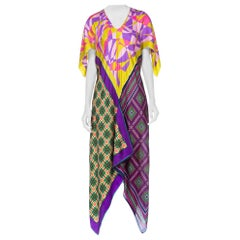 Morphew Collection Bias Geometric Print Kaftan Dress Made From 1960's Scarves