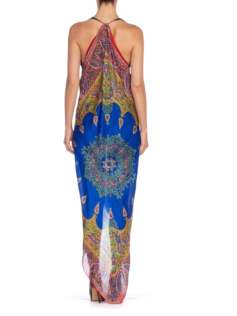 Morphew Collection Bias Kaftan Vintage Silk Scarf Dress Hand Printed For Sale 7