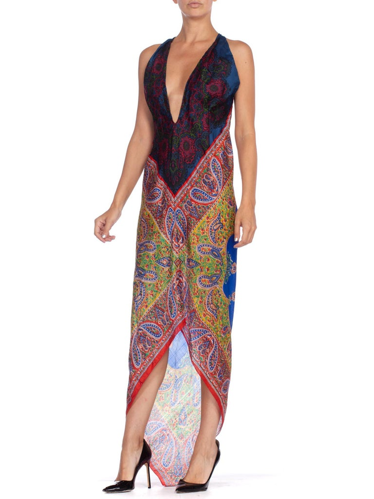 Morphew Collection Bias Kaftan Vintage Silk Scarf Dress Hand Printed In Excellent Condition For Sale In New York, NY