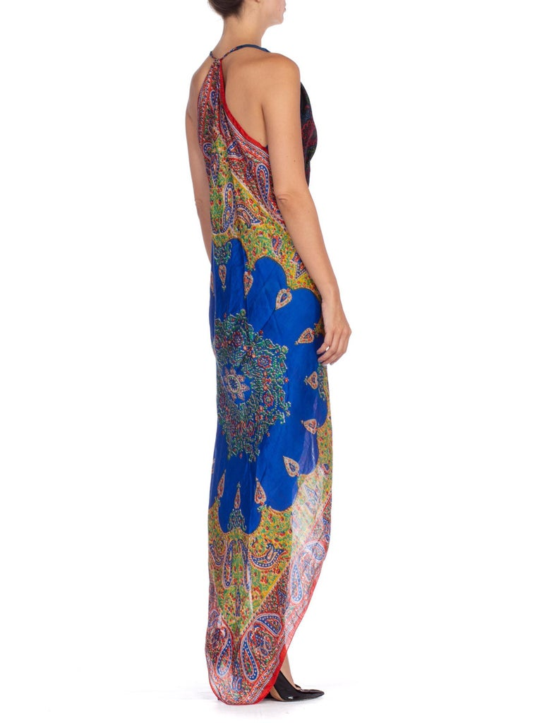 Women's Morphew Collection Bias Kaftan Vintage Silk Scarf Dress Hand Printed For Sale