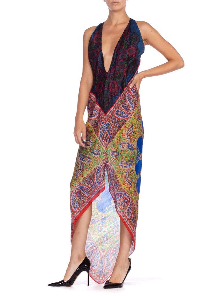 Morphew Collection Bias Kaftan Vintage Silk Scarf Dress Hand Printed For Sale 1