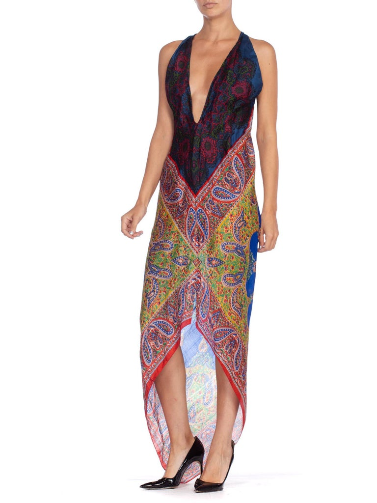 Morphew Collection Bias Kaftan Vintage Silk Scarf Dress Hand Printed For Sale 3