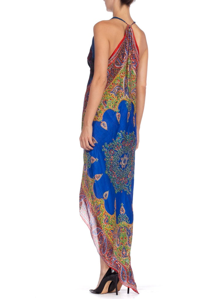 Morphew Collection Bias Kaftan Vintage Silk Scarf Dress Hand Printed For Sale 4