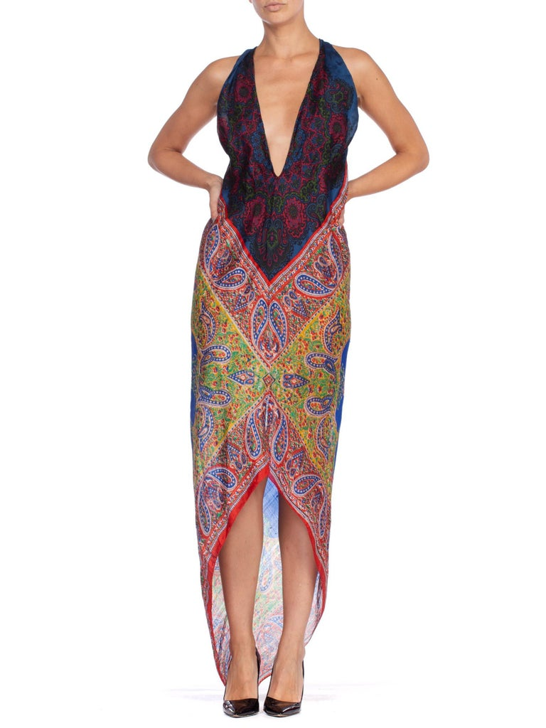 Morphew Collection Bias Kaftan Vintage Silk Scarf Dress Hand Printed For Sale 5