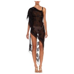 MORPHEW COLLECTION Black Silk & Lurex Chiffon Dress Made From John Galliano Sca