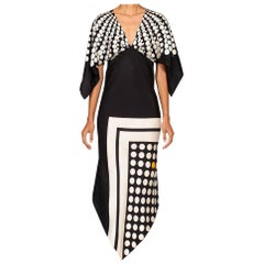 Morphew Collection Black & White Bias Cut Silk Twill Two-Scarf Dress