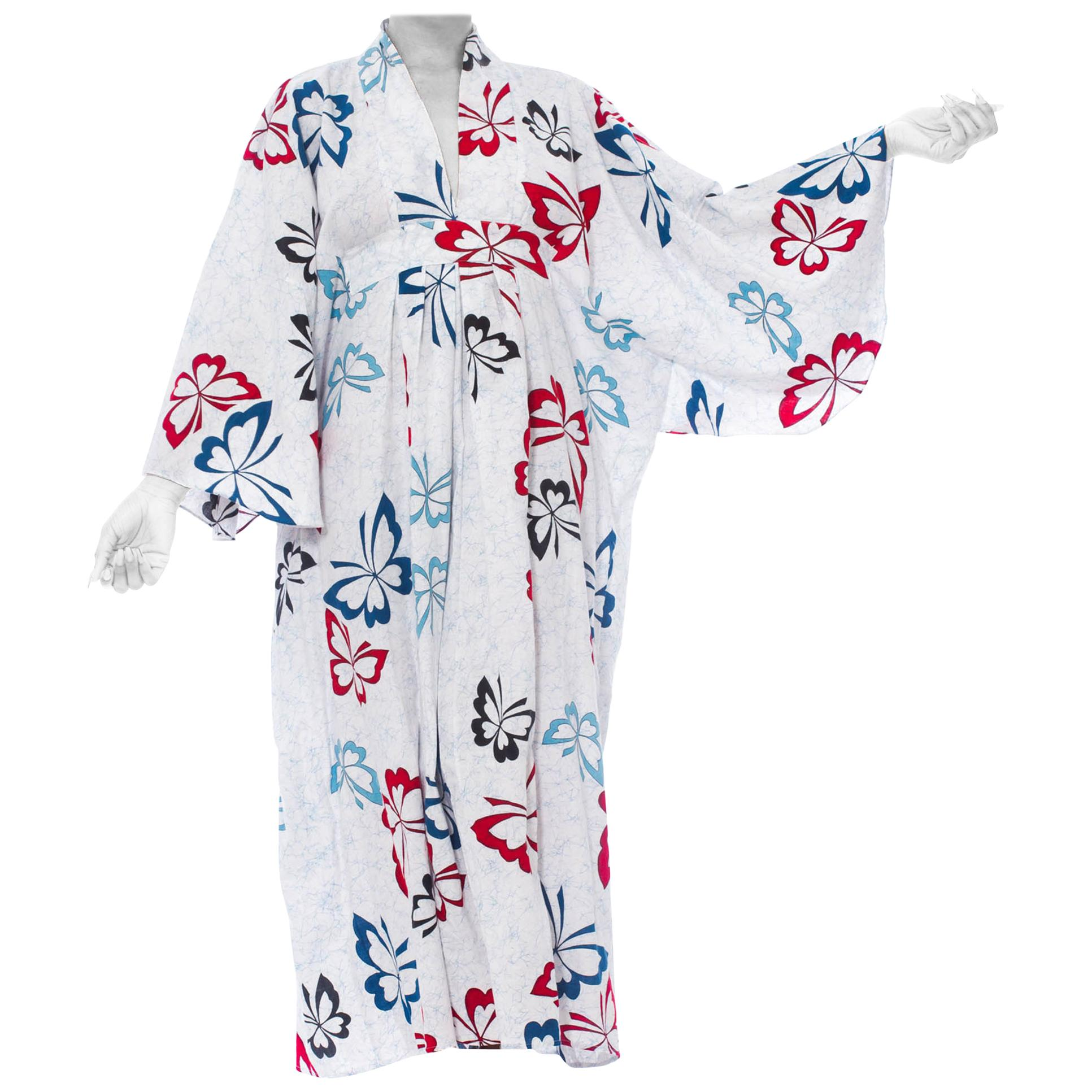 MORPHEW COLLECTION Blue & White Cotton Red Butterfly Kaftan Made From Vintage J