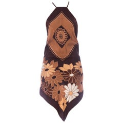 Morphew Collection Chocolate Brown Bias Cut Silk 1970'S Mod Floral Scarf Top