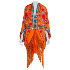 MORPHEW COLLECTION Orange Hand Embroidered Silk Piano Shawl Cocoon With Fringe M