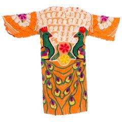 Morphew Collection Cotton Chenille Orange Peacock Beach Robe