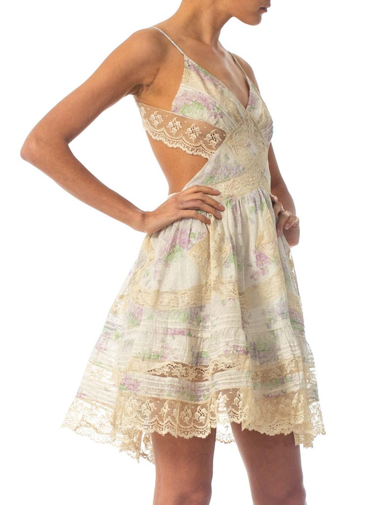 Women's  Morphew Collection Cotton Dress Made From Antique 1890S Lace For Sale