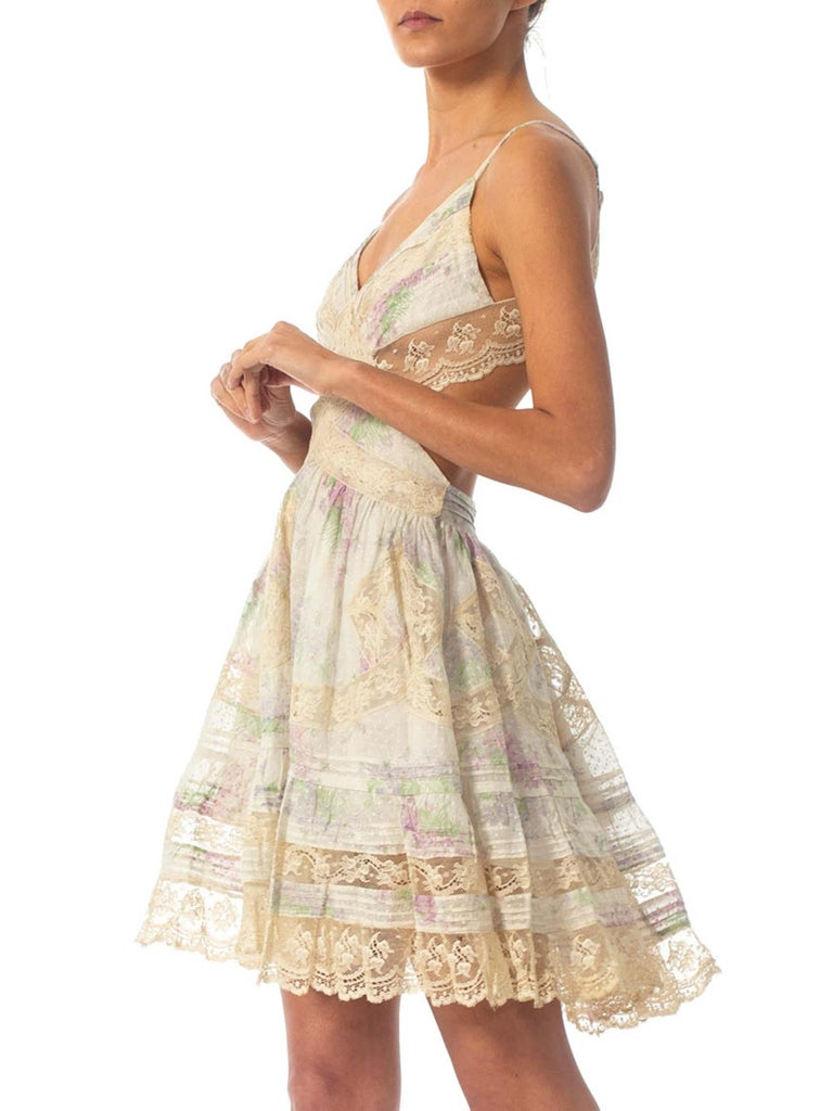 Morphew Collection Cotton Dress Made From Antique 1890S Lace For Sale 1
