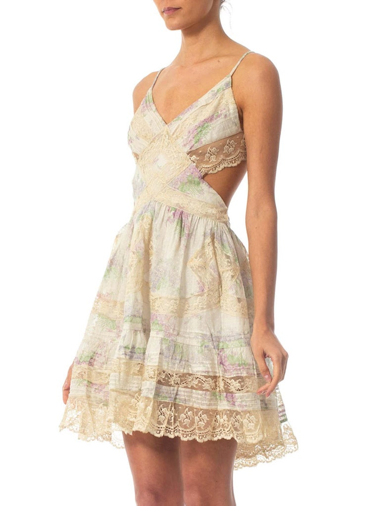 Morphew Collection Cotton Dress Made From Antique 1890S Lace For Sale 2