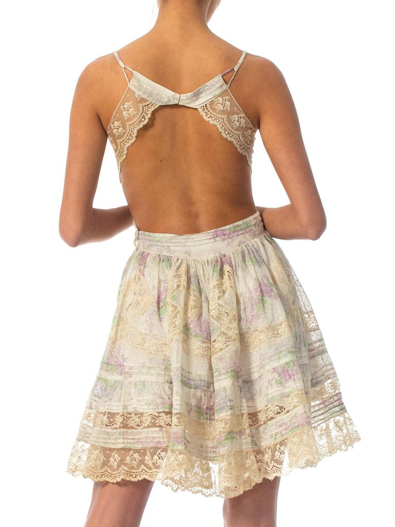 Morphew Collection Cotton Dress Made From Antique 1890S Lace For Sale 4
