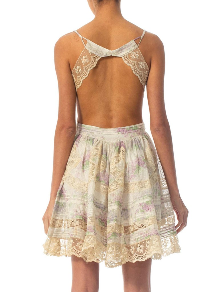Morphew Collection Cotton Dress Made From Antique 1890S Lace For Sale 6