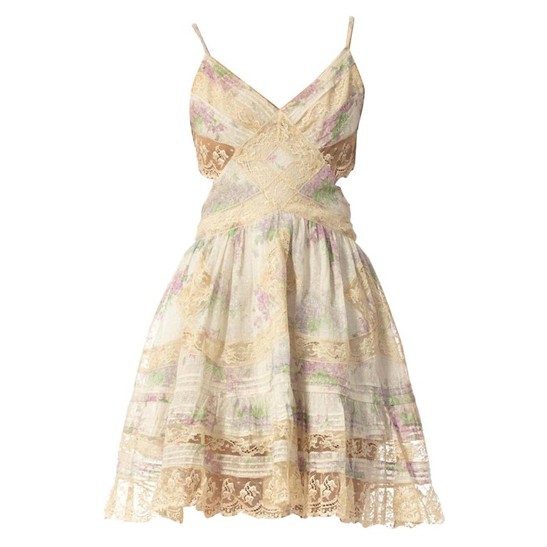 Morphew Collection Cotton Dress Made From Antique 1890S Lace For Sale
