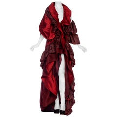 MORPHEW COLLECTION Cranberry Red Silk & Rayon Duchess Satin Taffeta Asymmetrica