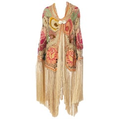 MORPHEW COLLECTION Cream & Pastels Silk Fringe Cocoon Made From An Antique 1920