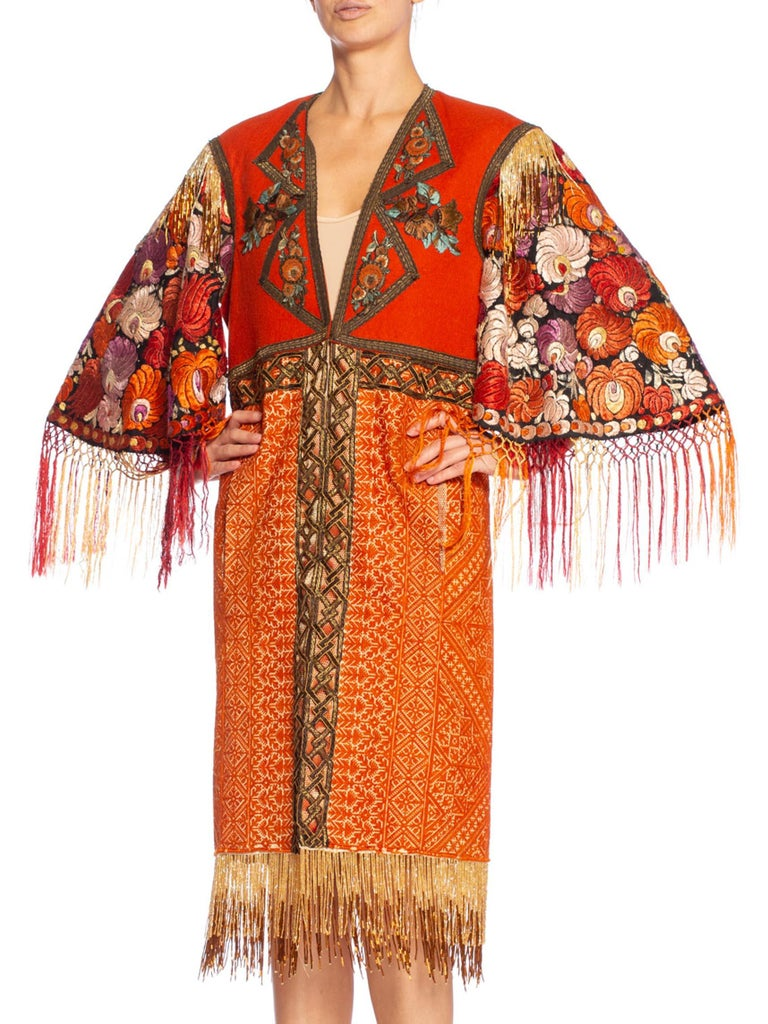 Morphew Collection Duster Coat Made Of Hand Embroidery & Antique Trim In Excellent Condition For Sale In New York, NY