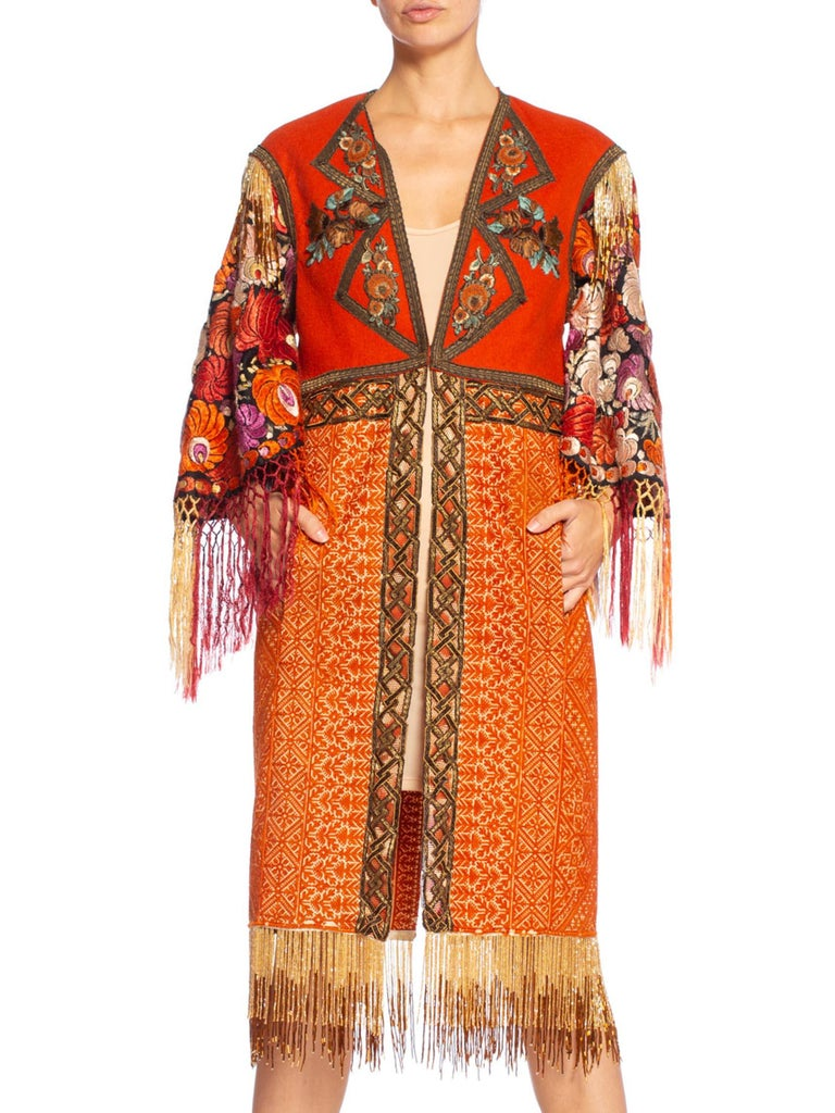 Women's Morphew Collection Duster Coat Made Of Hand Embroidery & Antique Trim For Sale