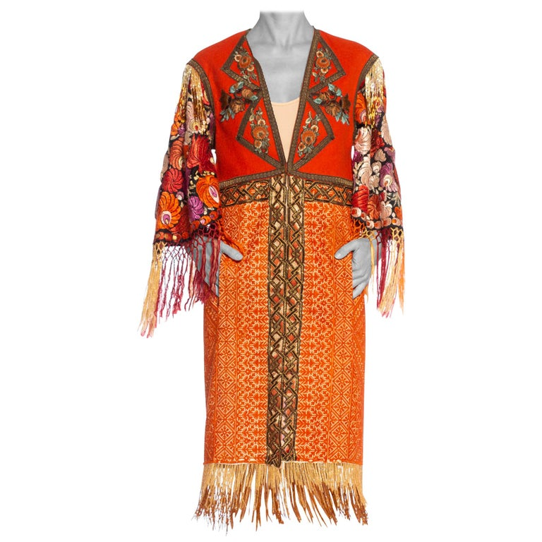 Morphew Collection Duster Coat Made Of Hand Embroidery & Antique Trim For Sale