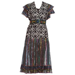 MORPHEW COLLECTION Duster Wrap Dress Made From 70'S Lurex & Velvet Fabrics With